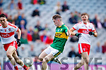 Jack Griffin Kerry misses a chance at goal against Derry in the All-Ireland Minor Footballl Final in Croke Park on Sunday.