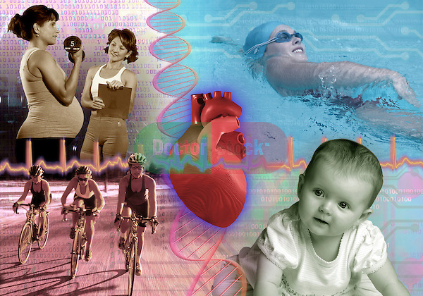 metaphoric composite photo illustration with icons of health including pregnant female weight training, DNA model, a heart rhythm, swimming, and baby