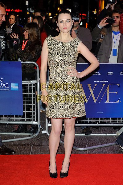 Katie McGrath.'W.E.' UK film premiere, 55th BFI London Film Festival, Empire cinema, Leicester Square, London, England..23rd October 2011.LFF full length black beige gold pattern print embroidered hand on hip.CAP/CJ.©Chris Joseph/Capital Pictures.