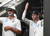 3rd December 2017, Wellington, New Zealand;  Kane Williamson declares as he waves in Blundell and Boult.<br /> Day 3. New Zealand Black Caps v West Indies. 1st test match of the ANZ International Cricket Season 2017/18 season. Basin Reserve, Wellington,