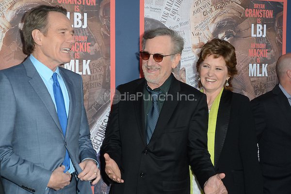 HOLLYWOOD, CA - MAY 10: Bryan Cranston, Steven Spielberg and Melissa Leo at the 'All The Way' Los Angeles Premiere at Paramount Studios on May 10, 2016 in Hollywood, California. Credit David Edwards/MediaPunch