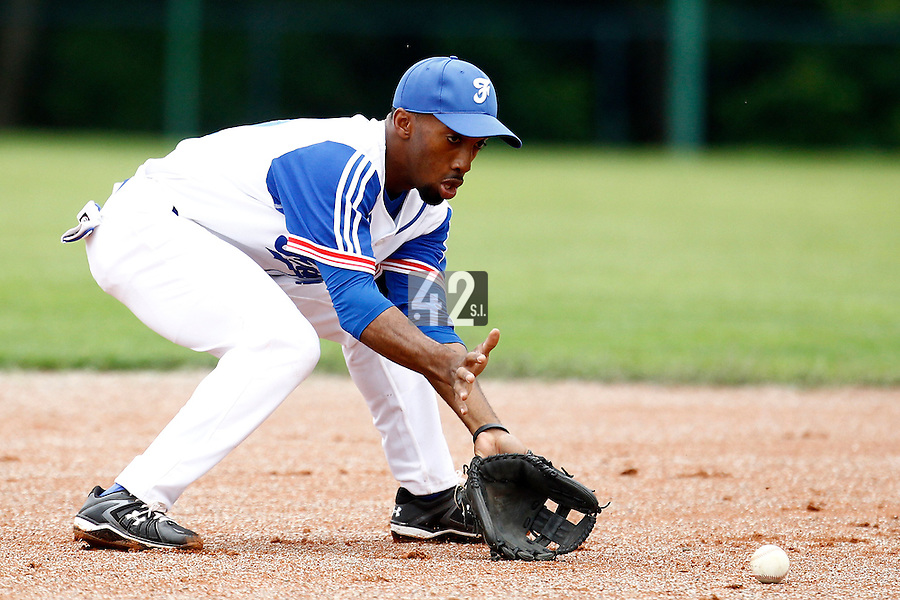21 June 2011: Felix Brown of Team France is seen during UCLA Alumni 5-3 win over France, at the 2011 Prague Baseball Week, in Prague, Czech Republic.