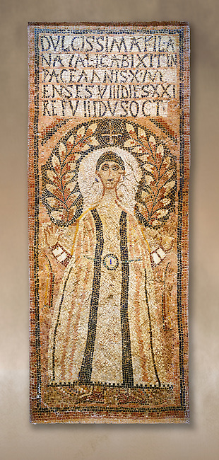 The Christian memorial funerary mosaic for Natalica the inscription reading: '(our) beloved daughter Natalica lived 10 years 8 months 21 days, rested the 8th Ides of October (23rd) '.<br /> <br /> The panel is decorated with a crescent laurel leaves against a black background and a cross encircling the head of a depiction of Natalica. She is wearing earnings and is dressed in a dalmatic, a long wide-sleeved tunic, which is decorated with black clavi, stripes, and embroidered sleeves. A belt and buckle with cabochons, shaped and polished gem stones, hold the tunic tight at the waste.  Either side of t Natalica are two lit candles, the symbols of eternity.<br /> <br /> 5th century Eastern Byzantine Roman mosaic from the funerary enclosure which is in the Northwest enclosure of the Acholla site, Tunisia. Bardo Museum, Tunis, Tunisia