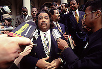 (021305-SWR06.jpg) New York, NY 4 April  93 -- The Reverend Al Sharpton speaks with the press, on the steps of City Hall, about School Board elections...© Stacy Walsh Rosenstock
