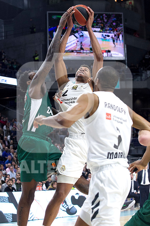 Zalgiris' Deon Thompson, Real Madrid's Walter Tavares, Real Madrid's Anthony Randolph during Euroligue match between Real Madrid and Zalgiris Kaunas at Wizink Center in Madrid, Spain. April 4, 2019.  (ALTERPHOTOS/Alconada)