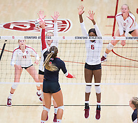 STANFORD, CA - November 4, 2018: Tami Alade, Meghan McClure, Kate Formico, Kathryn Plummer at Maples Pavilion. No. 2 Stanford Cardinal defeated the Utah Utes 3-0.