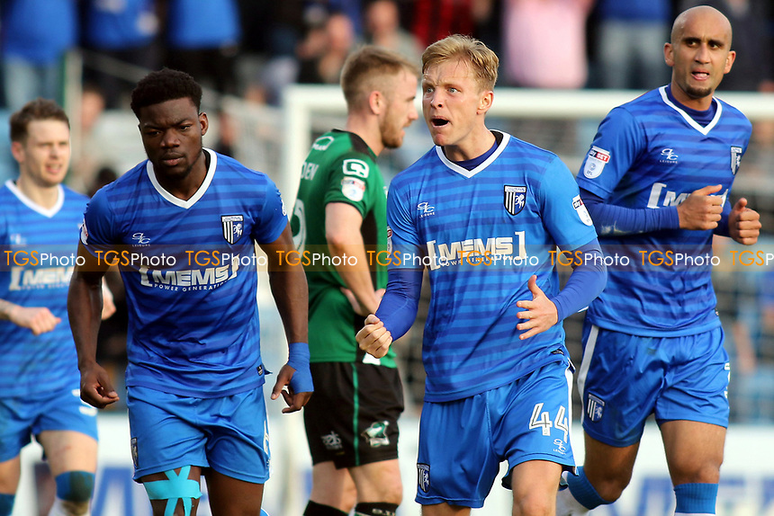 Gillingham's Josh Wright celebrates scoring his second goal and penalty during Gillingham vs Scunthorpe United, Sky Bet EFL League 1 Football at the MEMS Priestfield Stadium on 11th March 2017