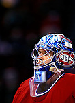 3 February 2007: Montreal Canadiens goaltender David Aebischer of Switzerland warms up prior to facing the New York Islanders at the Bell Centre in Montreal, Canada. The Islanders defeated the Canadiens 4-2.