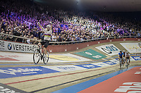joyful victory lap for  Mark Cavendish (GBR/Dimension Data) after winning the (overall) 2016 Gent 6 (with teammate Bradley Wiggins)