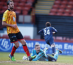 Partick goalkeeper Paul Gallacher is distraught as Ross County's Raffaele De Vita scores past him