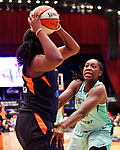 August 4th, 2019:  The Connecticut Sun [navy] won their seventh straight game defeating the Liberty of New York, 94-79. The WNBA match up was held at the Westchester Community Center in White Plains, New York.  Heary/Eclipse Sportswire/CSM