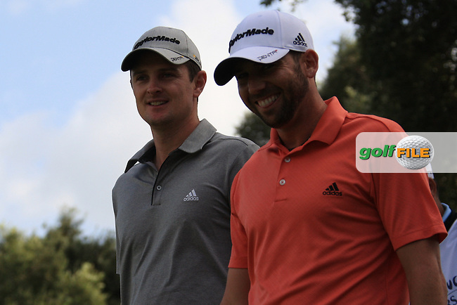 Justin Rose (ENG, Sergio Garcia (ESP)during the 1st day at the  Andalucía Masters at Club de Golf Valderrama, Sotogrande, Spain. .Picture Fran Caffrey www.golffile.ie