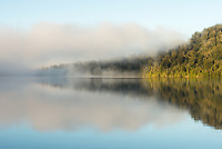 Morning fog reflections on Lake Mapourika, Westland Tai Poutini National Park, West Coast, UNESCO World Heritage Area, New Zealand, NZ