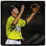 Closer Allan Winans (28) of the Columbia Fireflies raises his hands to the sky during a slight rainfall after throwing a game-ending strikeout that sealed a save in a 3-2 win over the Hickory Crawdads on Tuesday, August 27, 2019, at Segra Park in Columbia, South Carolina. (Tom Priddy/Four Seam Images) #MiLB