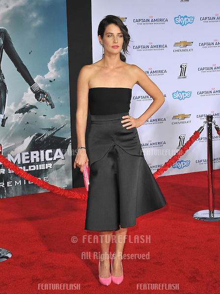 Cobie Smulders at the world premiere of her movie &quot;Captain America: The Winter Soldier&quot; at the El Capitan Theatre, Hollywood.<br /> March 13, 2014  Los Angeles, CA<br /> Picture: Paul Smith / Featureflash