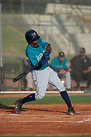 AZL Mariners Edwin Gil (15) at bat during an Arizona League game against the AZL Giants Orange on July 18, 2019 at the Giants Baseball Complex in Scottsdale, Arizona. The AZL Giants Orange defeated the AZL Mariners 7-4. (Zachary Lucy/Four Seam Images)