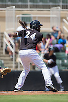KJ Woods (24) of the Kannapolis Intimidators at bat against the Rome Braves at Kannapolis Intimidators Stadium on June 29, 2016 in Kannapolis, North Carolina.  The Braves defeated the Intimidators 4-0.  (Brian Westerholt/Four Seam Images)