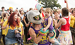 Electric Fields music festival at Drumlanrig Castle, Dumfries and Gallloway Scotland. Colonel Mustard dancing with wee girl