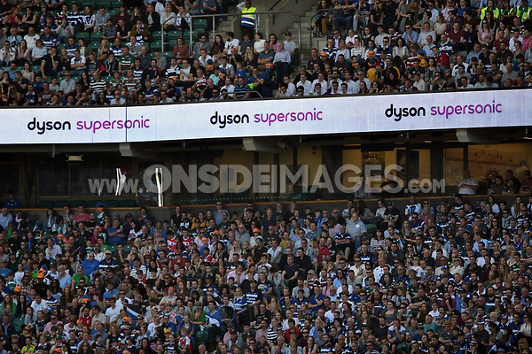 A general view of Dyson branding on the middle tier LED boards. The Clash, Aviva Premiership match, between Bath Rugby and Leicester Tigers on April 8, 2017 at Twickenham Stadium in London, England. Photo by: Patrick Khachfe / Onside Images