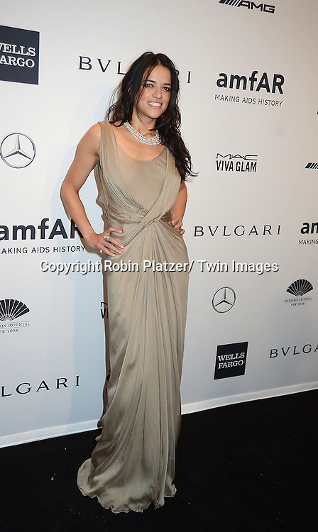 Michelle Rodriguez attends the amfAR New York Gala on February 5, 2014 at Cipriani Wall Street in New York City.
