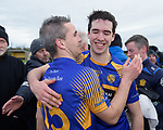 Newmarket players Eoin Hayes and Evan Keogh celebrate following their win over Sixmilebridge in the Clare Champion Cup final at Clonlara. Photograph by John Kelly.