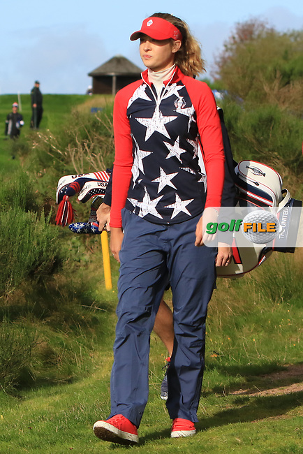 Nelly Korda of Team USA on the 6th during Day 1 Foursomes at the Solheim Cup 2019, Gleneagles Golf CLub, Auchterarder, Perthshire, Scotland. 13/09/2019.<br /> Picture Thos Caffrey / Golffile.ie<br /> <br /> All photo usage must carry mandatory copyright credit (© Golffile   Thos Caffrey)