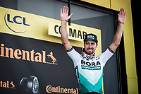 Green Jersey Peter Sagan (SVK/Bora Hansgrohe) on podium after winning the bunch sprint in Colmar.  <br /> <br /> Stage 5: Saint-Dié-des-Vosges to Colmar (175km)<br /> 106th Tour de France 2019 (2.UWT)<br /> <br /> ©kramon
