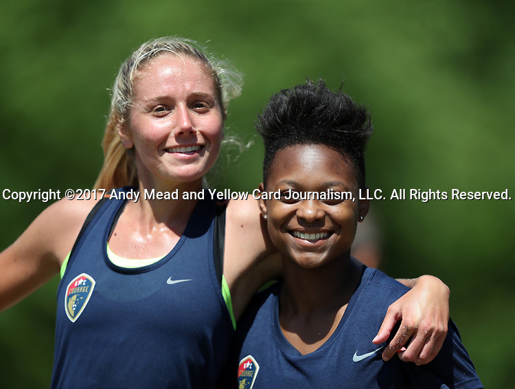 CARY, NC - MAY 04: Taylor Smith (right) and Courtney Niemiec (left). The North Carolina Courage held a training session on May 4, 2017, at WakeMed Soccer Park Field 6 in Cary, NC.