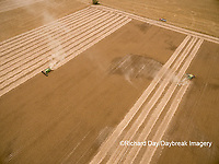 63801-08818 Soybean Harvest, 2 John Deere combines harvesting soybeans - aerial - Marion Co. IL