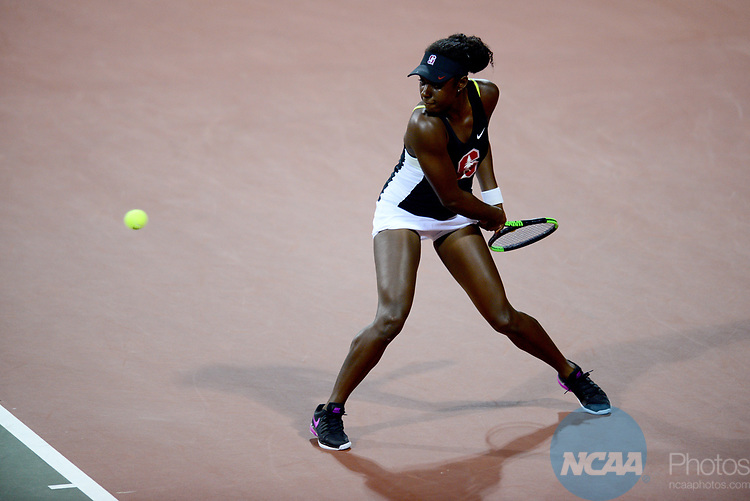 ATHENS, GA - MAY 23: Melissa Lord of Stanford University returns a serve against the University of Florida during the Division I Women's Tennis Championship held at the Dan Magill Tennis Complex on the University of Georgia campus on May 23, 2017 in Athens, Georgia. (Photo by Steve Nowland/NCAA Photos via Getty Images)