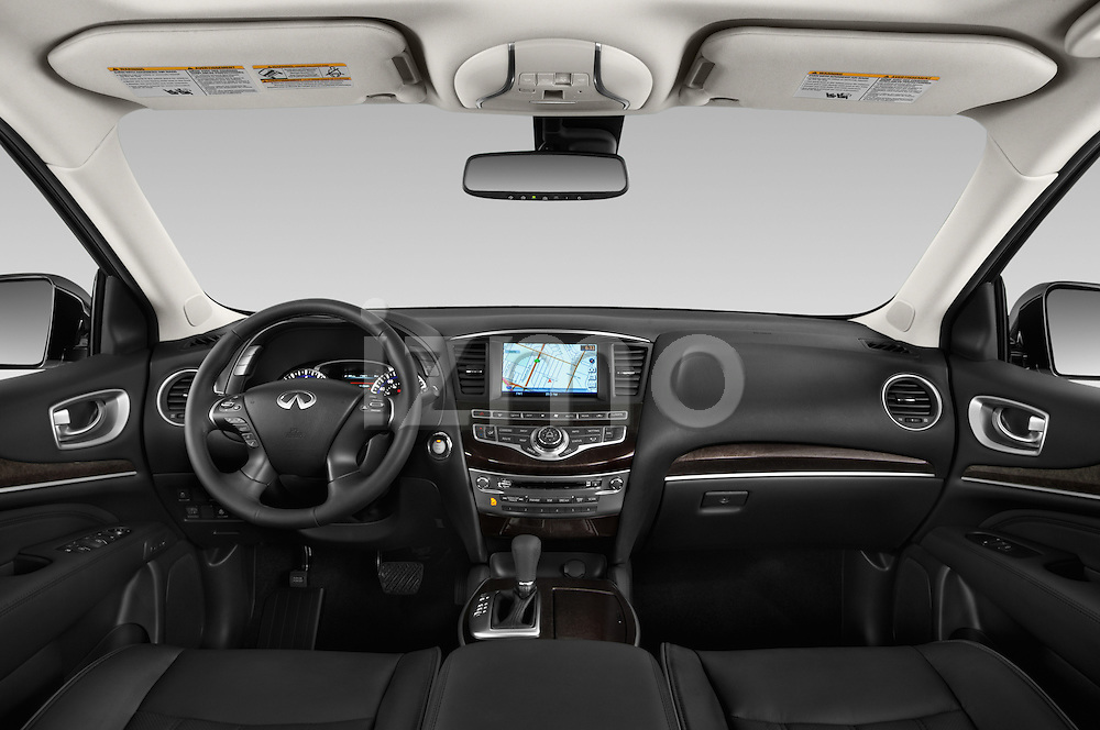 Stock photo of straight dashboard view of a 2014 Infiniti QX60 Hybrid 5 Door SUV Dashboard