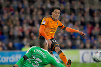 Helder Costa of Wolverhampton Wanderers shoots at goal during the Sky Bet Championship match between Cardiff City and Wolverhampton Wanderers at the Cardiff City Stadium, Cardiff, Wales on 6 April 2018. Photo by Mark  Hawkins / PRiME Media Images.