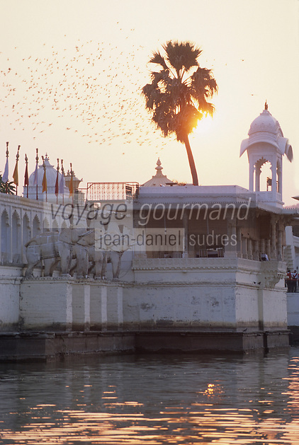 Asie/Inde/Rajasthan/Udaipur: Sur le lac Pichola - Palais de l'île de Jag Mandir dans la lumière du soir