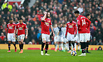 Manchester Utd players make their way back after conceeding during the premier league match at the Old Trafford Stadium, Manchester. Picture date 15th April 2018. Picture credit should read: Simon Bellis/Sportimage