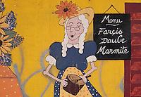 Europe/France/Provence-Alpes-Côte d'Azur/06/Alpes-Maritimes/Nice: Détail mur peint d'un restaurant du Vieux Nice