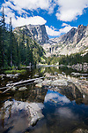 Hallett Peak, Flattop Mountain, Dream Lake, subalpine, forest, day, morning, Rocky Mountain National Park, Colorado, USA