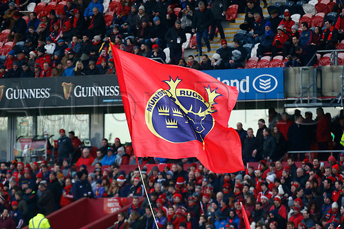 26th December 2017, Thomond Park, Limerick, Ireland; Guinness Pro14 rugby, Munster versus Leinster; The Munster Rugby Fans flies high above the crowd