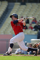 Patrick Wisdom #5 of the St.Mary's Gaels bats against the Georgia Bulldogs at Dodger Stadium in Los Angeles,California on March 13, 2011. Photo by Larry Goren/Four Seam Images
