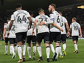 8th September 2017, Pride Park Stadium, Derby, England; EFL Championship football, Derby County versus Hull City; Matej Vydra of Derby County celebrateswith his team mates after scoring from a free kick in the 15th minute (1-0)