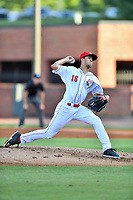 Greeneville Reds starting pitcher Lyon Richardson (16) delivers a pitch during a game against the Bluefield Blue Jays at Pioneer Park on June 30, 2018 in Greeneville, Tennessee. The Blue Jays defeated the Red 7-3. (Tony Farlow/Four Seam Images)