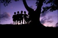 Children near Oak Ridge, Roatan, Honduras.