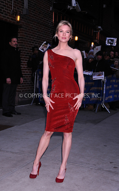 WWW.ACEPIXS.COM . . . . .  ....January 29 2009, New York City....Actress Renee Zellweger made an appearance at the 'Late Show with David Letterman' at the Ed Sullivan Theater on January 29, 2009 in New York City.......Please byline: AJ Sokalner - ACEPIXS.COM..... *** ***..Ace Pictures, Inc:  ..tel: (212) 243 8787..e-mail: info@acepixs.com..web: http://www.acepixs.com
