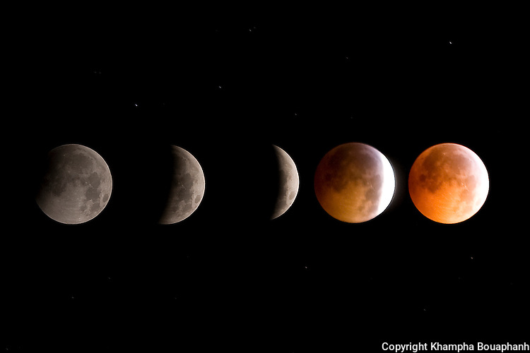 This five picture composite shows various stages of a winter solstice lunar eclipse as seen in Fort Worth, Texas from 12:34 PM December 20th to 1:40 AM December 21, 2010.  The last time a lunar eclipse accured during the winter solstice was December 21, 1638.  (photo by Khampha Bouaphanh).