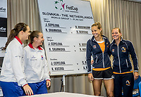 Bratislava, Slovenia, April 21, 2017,  FedCup: Slovakia-Netherlands, Draw ceremony, Doubles<br /> Photo: Tennisimages/Henk Koster