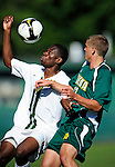 1 September 2009: University of Vermont Catamount midfielder Jordan Smith (left), a Freshman from Atlanta, GA, in action against the Siena College Saints at Centennial Field in Burlington, Vermont. The Saints edged out the Catamounts 1-0. Mandatory Photo Credit: Ed Wolfstein Photo