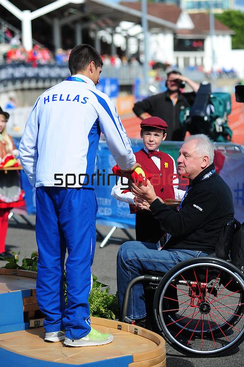 IPC European Athletics Championship 2014<br /> Swansea University<br /> <br /> Medal ceremony: Men's long jump T38. <br /> Gold medal: Mykyta Senyk (URK)<br /> Silver medal: Konstantinos Kamaras (GRE)<br /> Bronze medal: Moussa Tambadou (FRA)<br /> <br /> 23.08.14<br /> Chris Vaughan-SPORTINGWALES