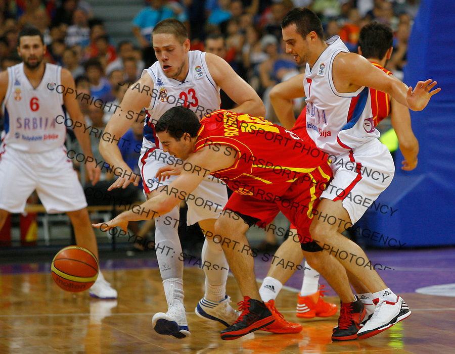 BELGRADE, SERBIA - AUGUST 18: Taylor Rochestie during the FIBA EuroBasket group A qualifying match between Serbia and Montenegro in Belgrade Kombank Arena on August 18, 2012 in Belgrade, Serbia.(credit: Pedja Milosavljevic/thepedja@gmail.com/+381641260959)