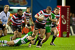 Grant Henson tries to step out of Karl Bryson's tackle. ITM Cup rugby game between Counties Manukau and Manawatu played at Bayer Growers Stadium on Saturday August 21st 2010..Counties Manukau won 35 - 14 after leading 14 - 7 at halftime.