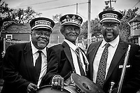 "(L-R) Drummer Bernard ""Bunchy"" Johnson of the Treme Brass Band, ""Uncle"" Lionel Batiste of the Treme Brass Band, with Actor Wendell Pierce on the set of HBO's ""TREME"" (The Pilot) on 31 March 2009 in New Orleans, Louisiana. USA."