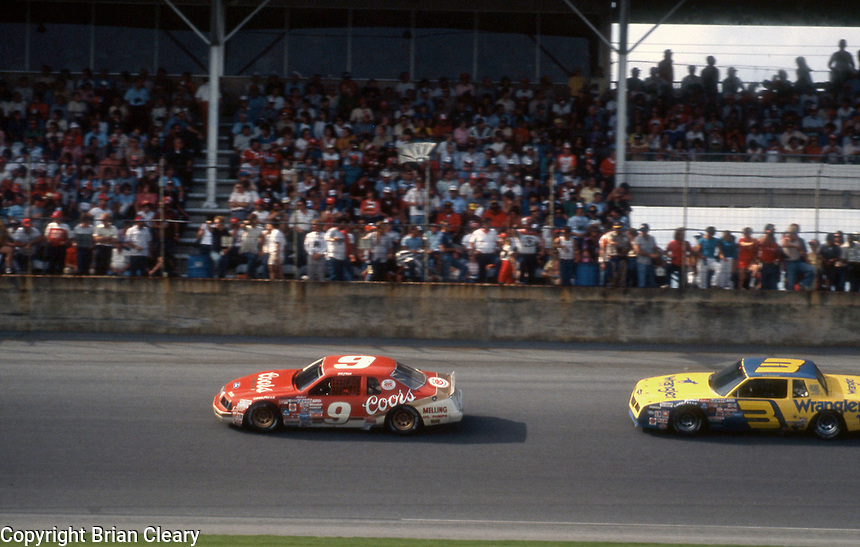 Bill Elliott 9 Dale Earnhardt 3 action Daytona 500 at Daytona International Speedway in Daytona Beach, FL on February  1984. (Photo by Brian Cleary/www.bcpix.com)